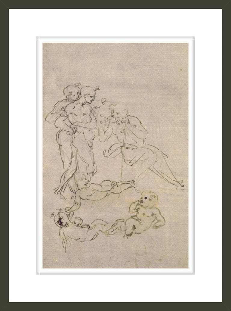 Figural Study for the Adoration of the Magi (Joseph and Two Shepherds and Sketches for the Christ Child)