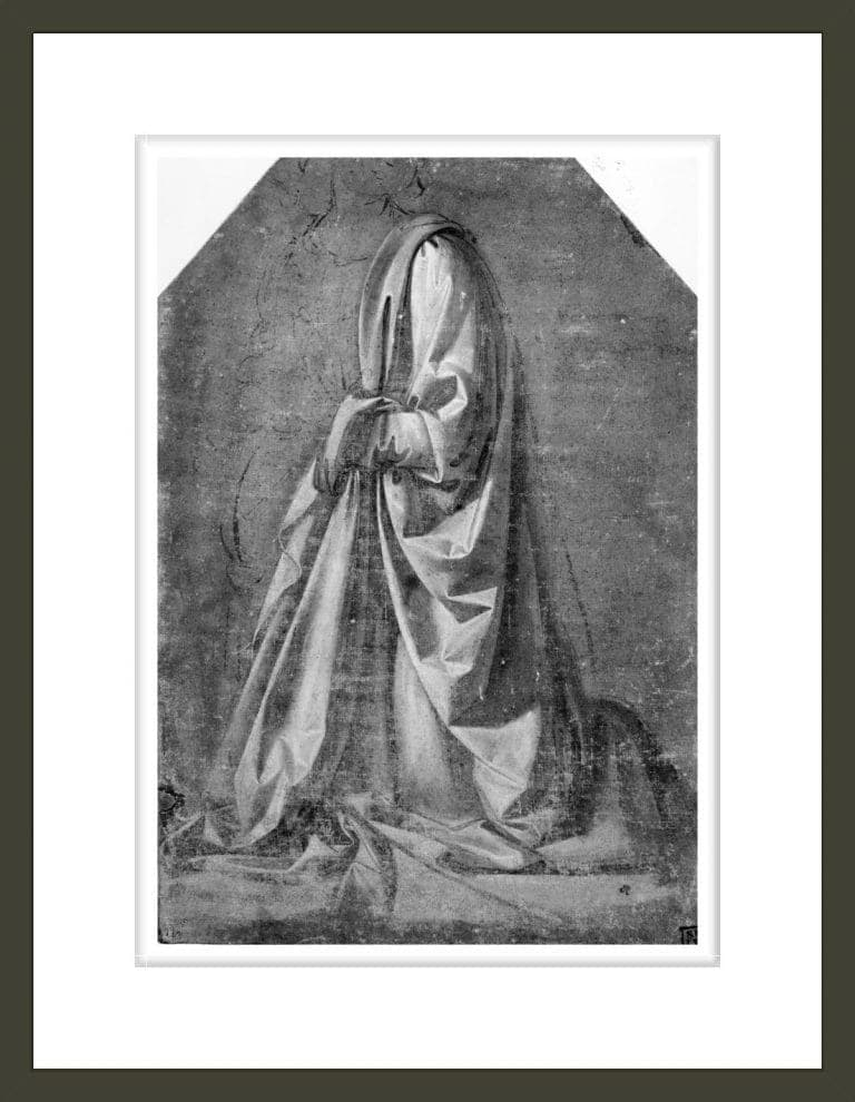 Drapery study for a kneeling figure seen in three-quarter profile to the left