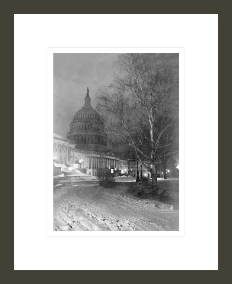 View of the US Capitol at Night with Snow