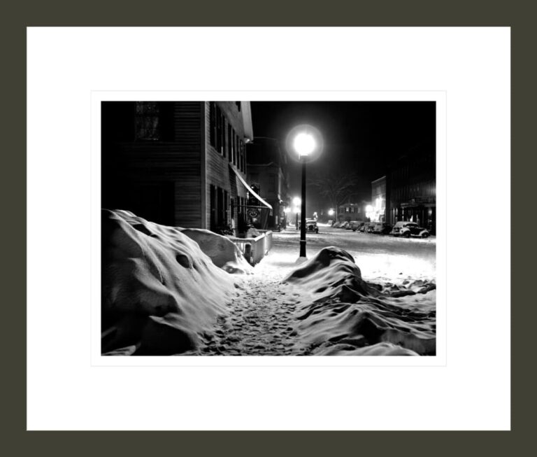 Center of Town, Snowy Night. Woodstock, Vermont.