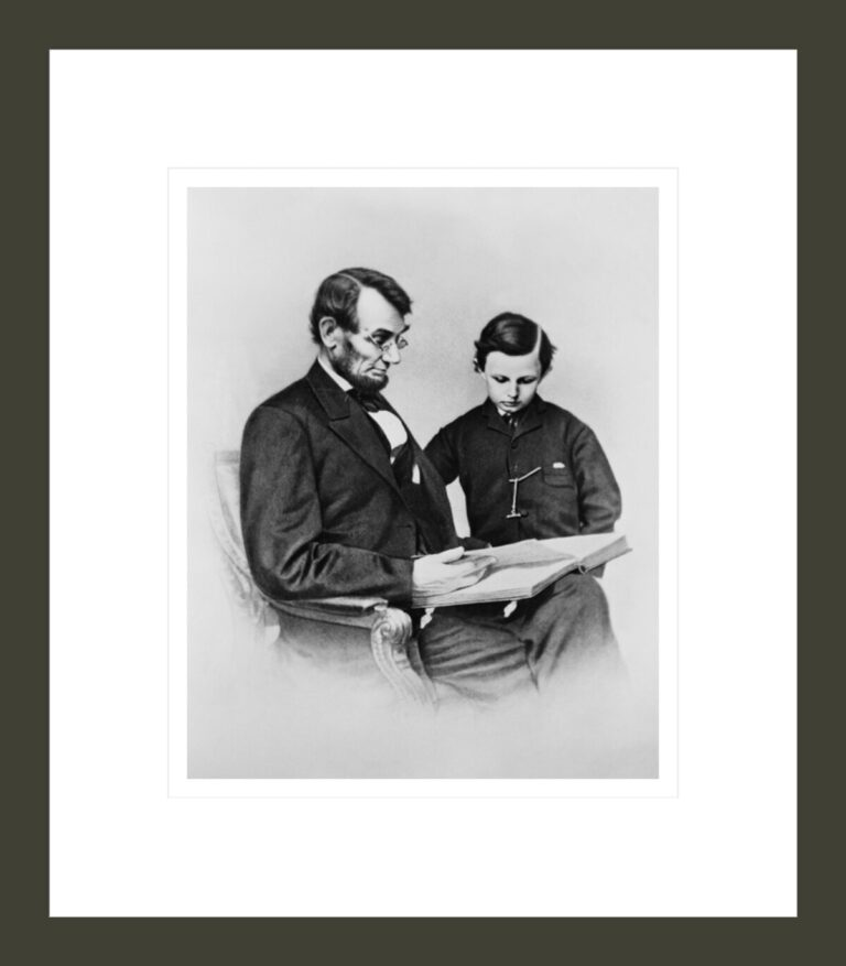Abraham Lincoln and his son Tad Looking at an Album of Photographs, 1864