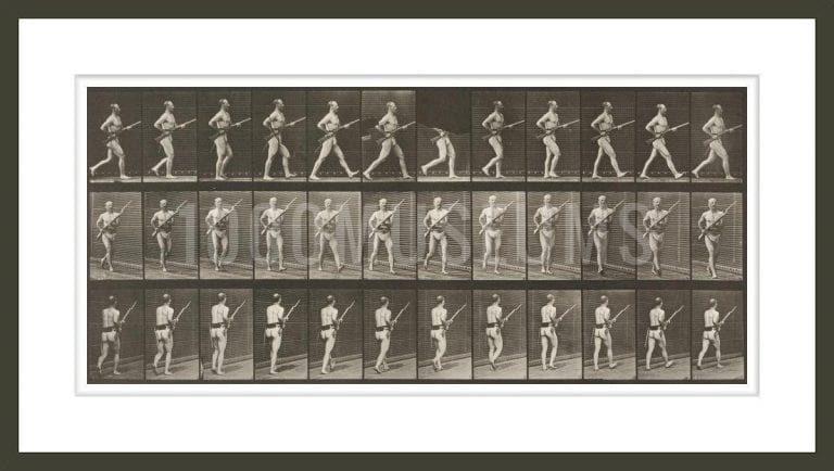 Man in pelvis cloth charging with bayonet (Animal Locomotion, 1887, plate 359)