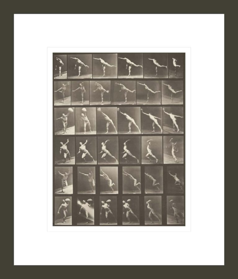 Man in pelvis cloth striking a blow, throwing a disk, heaving a 75-lb stone, throwing a ball (Animal Locomotion, 1887, plate 523)