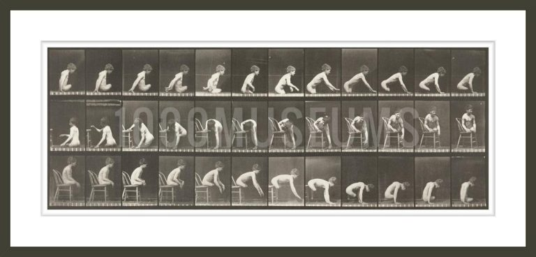 Nude boy with double amputation of thighs moving forward and getting on and off chair (Animal Locomotion, 1887, plate 538)