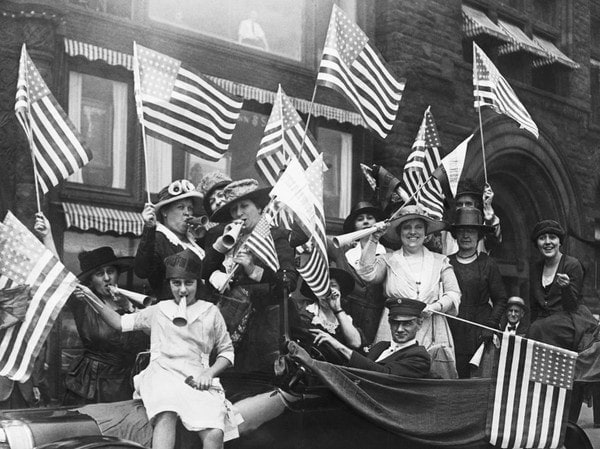 Suffragettes Celebrating photo