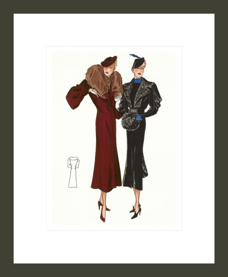1930's Winter Fashion: Two Women in Fur-collared Coats