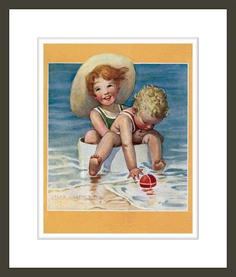 Two children playing in the ocean