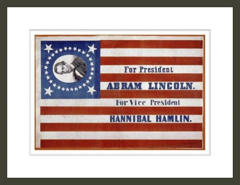 Lincoln And Hamlin Election Banner, 1860