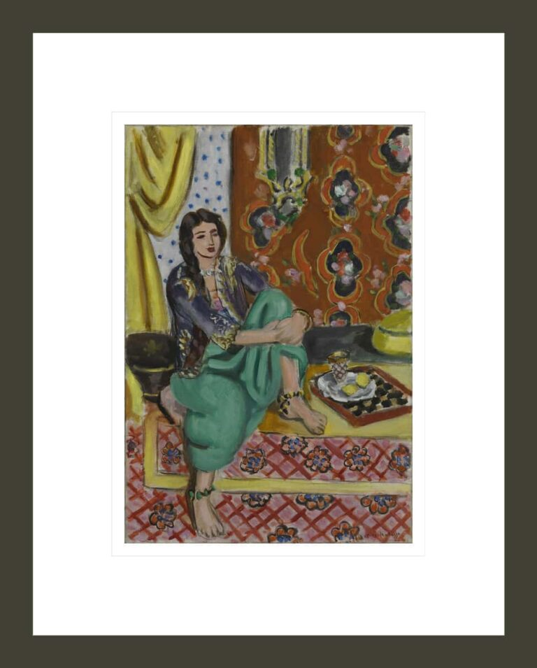 Seated Odalisque, Left Knee Bent, Ornamental Background and Checkerboard