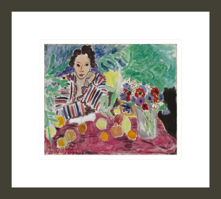 Striped Robe, Fruit, and Anemones
