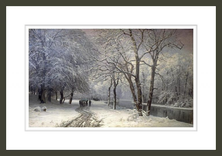 A Winter Landscape With Horses and Carts By a River