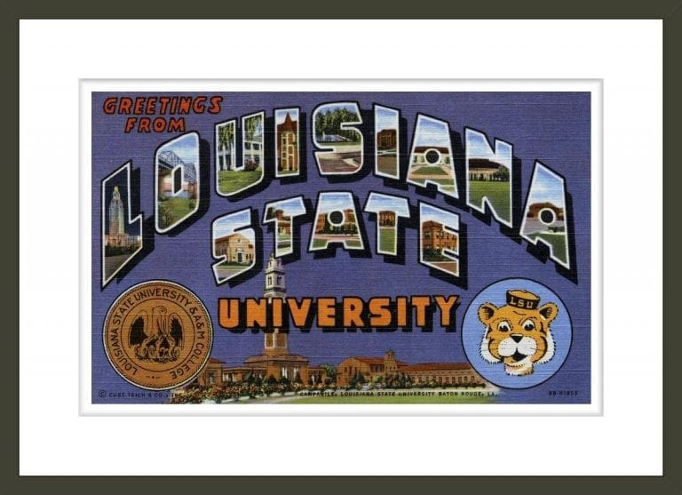 Greetings from Louisiana State University Postcard