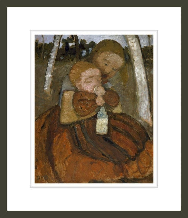Girl with A Baby Among Birch Trees