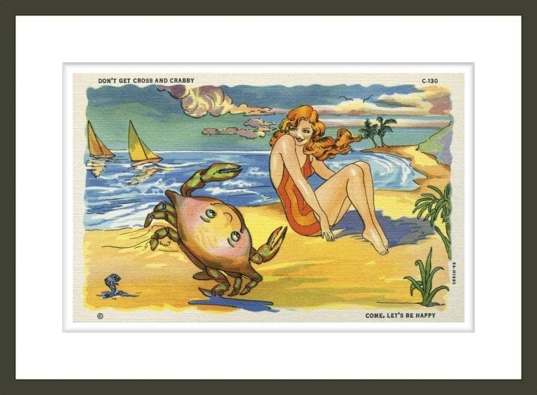 Illustration of Woman and Crab on Beach