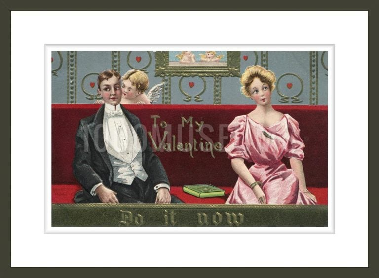 Postcard of Couple and Cupid