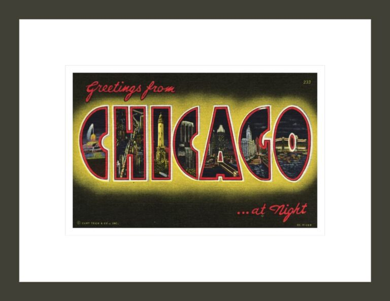 Greetings from Chicago at Night Postcard