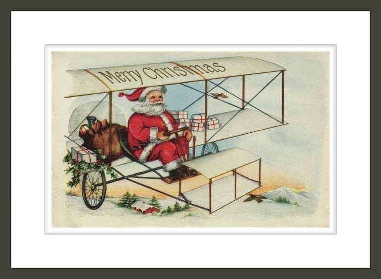 Postcard of Santa Claus Flying a Biplane