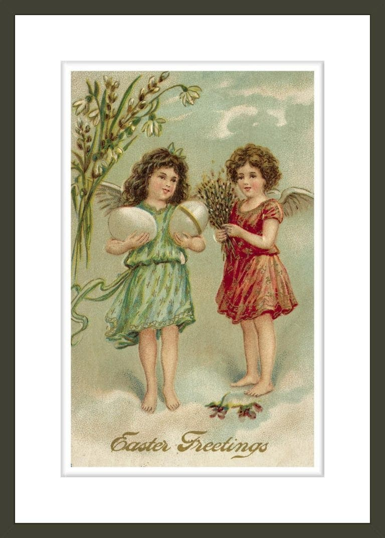 Postcard of Easter Greeting with Angelic Girls