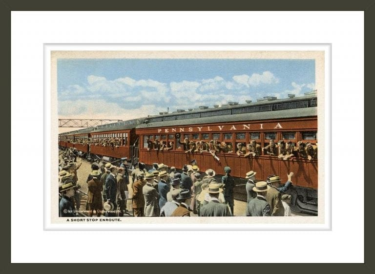 Postcard of Troops Waving from Passing Train