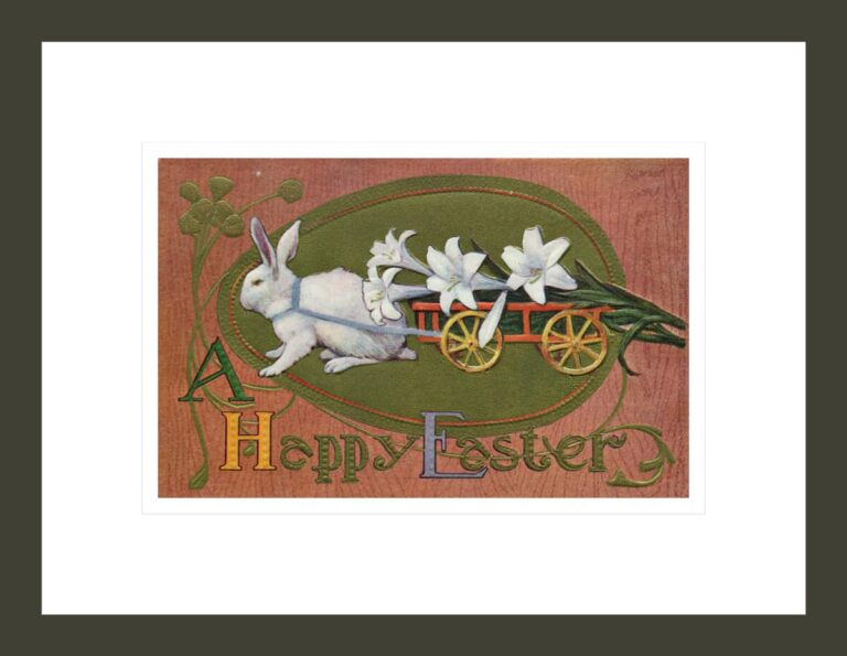 A Happy Easter Postcard with a Rabbit Pulling Lilies