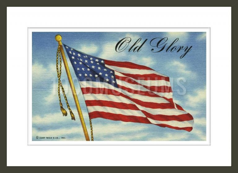 Old Glory Postcard from Hand-Colored Print