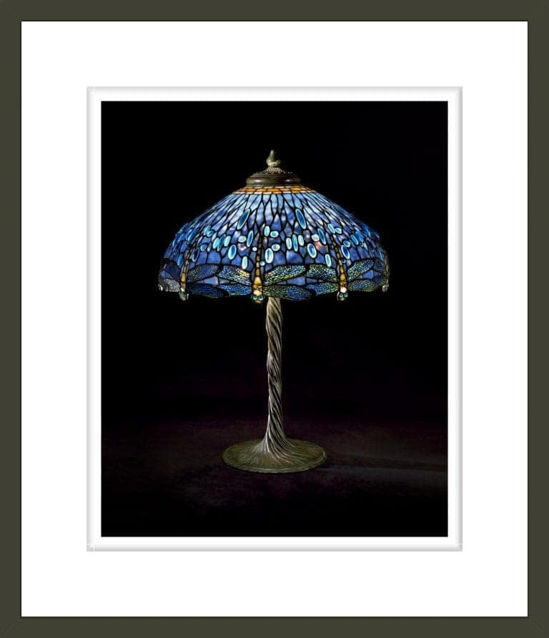 Tiffany Studios, Electric Lamp in Holden Dragonfly Shade and Twisted-Stem Waterlily Standard