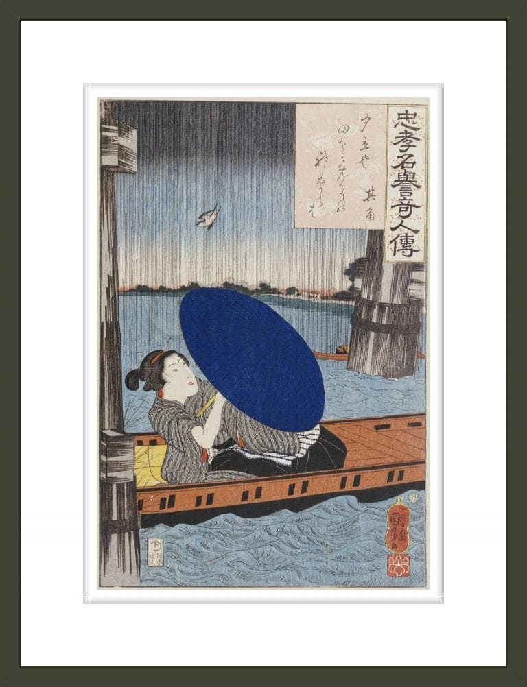 A young woman with a blue open umbrella in a boat between wooden bridge supports