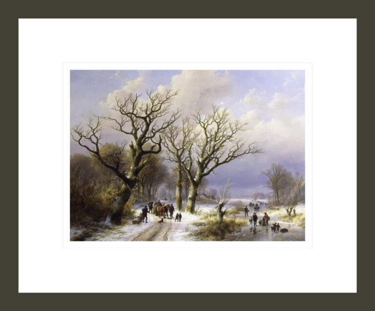 A Wooded Winter Landscape with Figures