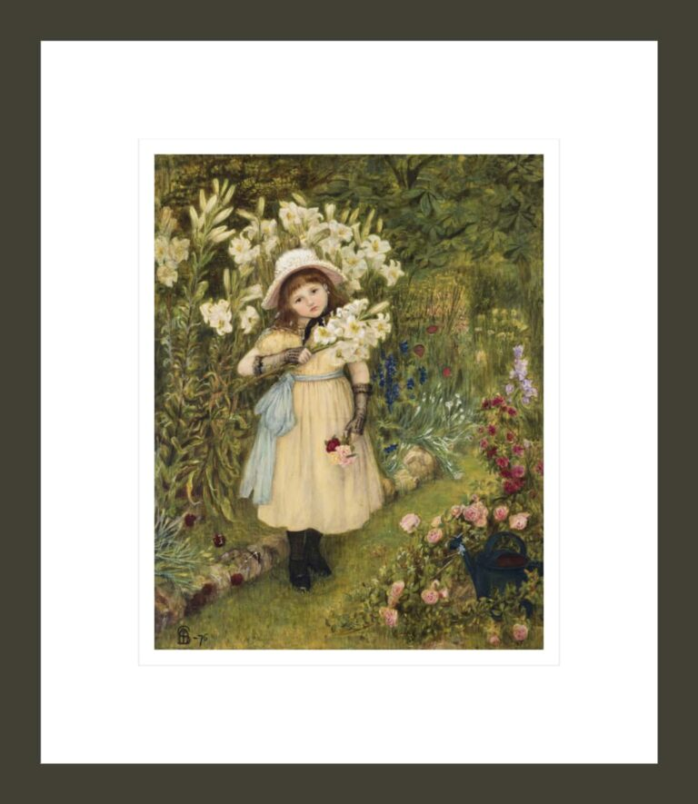 Portrait of Effie Holding a Lily and a Posy of Roses in a Garden