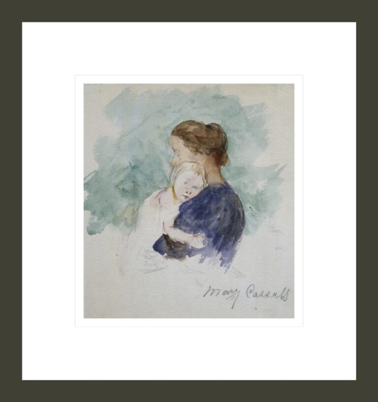 Watercolor of Mother and Child