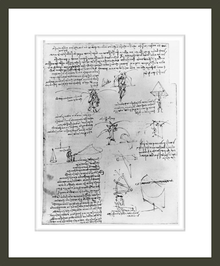 Drawings of Parachute Experiments and Flying Machines
