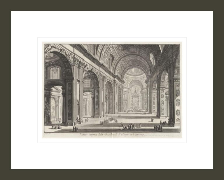 Interior View of the Basilica of San Pietro in the Vatican, from Vedute di Roma, Views of Rome