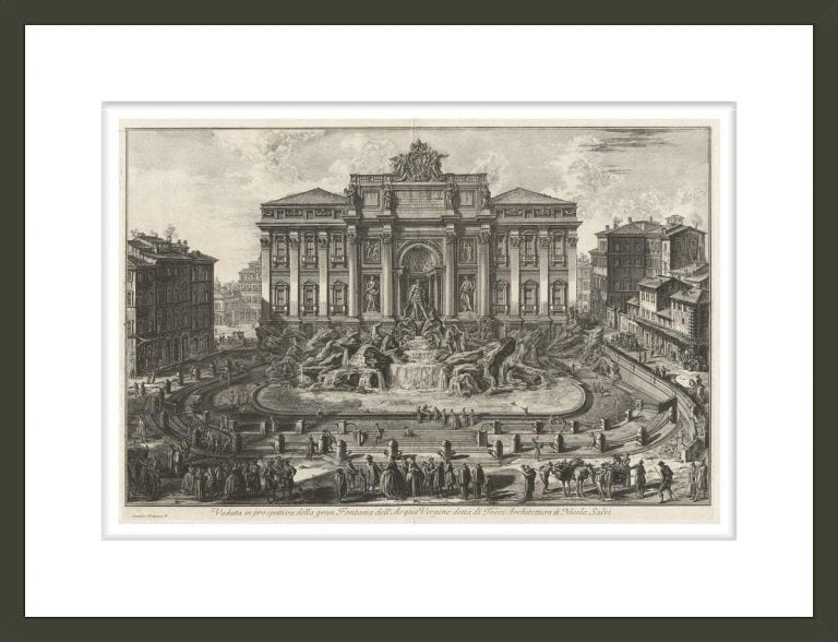Perspective view of the large Fountain of the Acqua Virgine, called the Trevi Fountain Architecture by Nicola Salvi, from Vedute di Roma Views of Rome