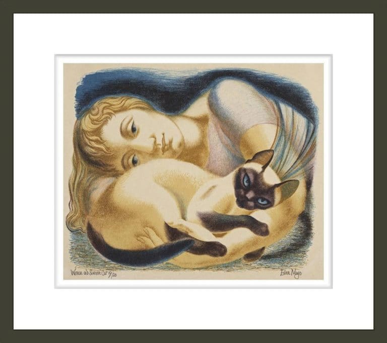 Woman and siamese cat
