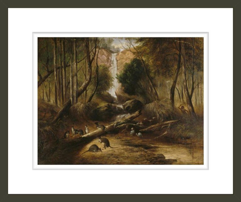 (Bush landscape with waterfall and an aborigine stalking native animals, New South Wales)