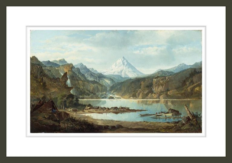 Mountain Landscape With Indians