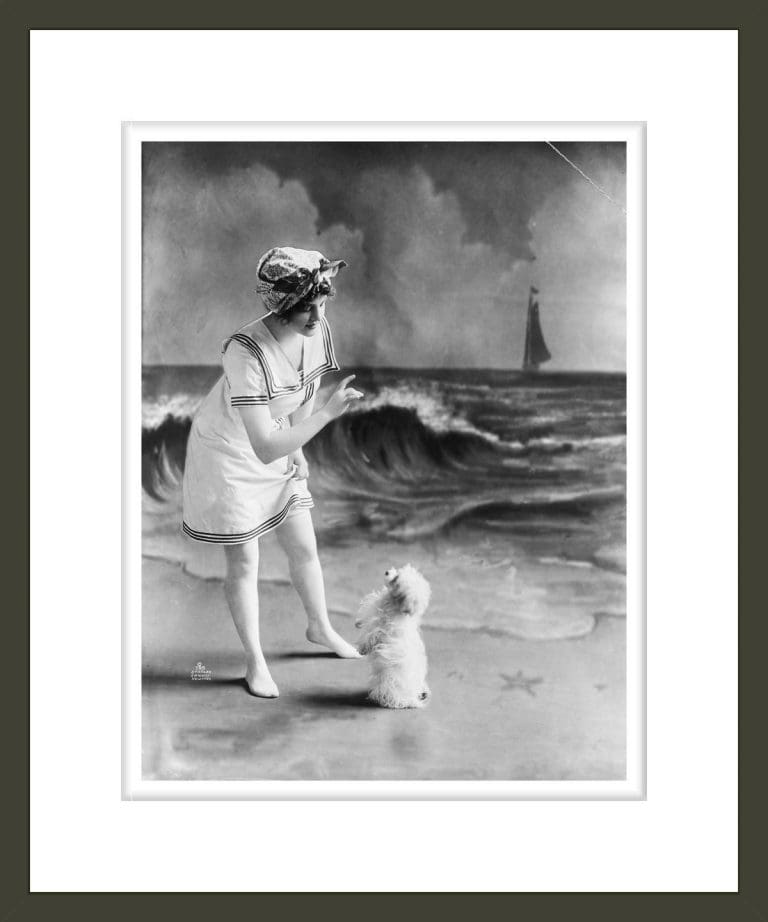 Woman In Bathing Suit And Dog