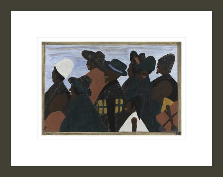 The Migration Series, Panel no. 35: They left the South in great numbers. They arrived in the North in great numbers.