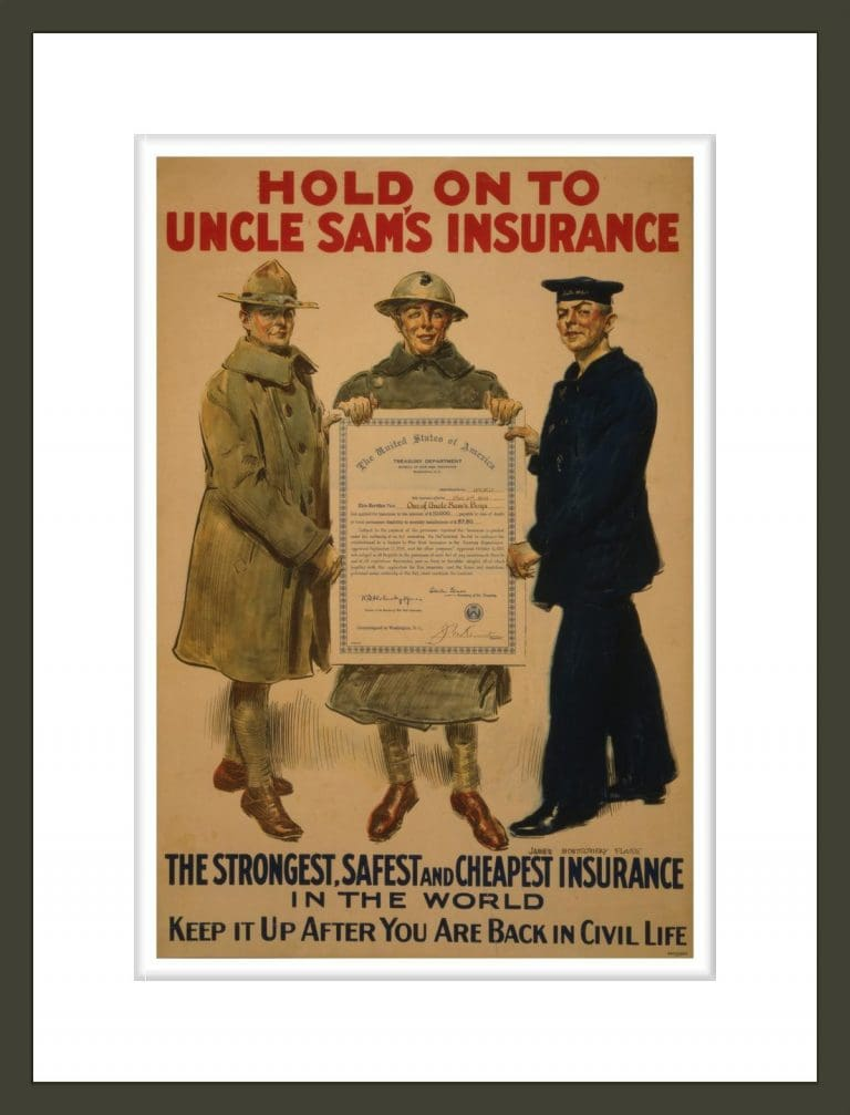 Hold on to Uncle Sam's insurance, the strongest, safest and cheapest insurance in the world - Keep it up after you are back in civil life / James Montgomery Flagg ; Forbes Boston.