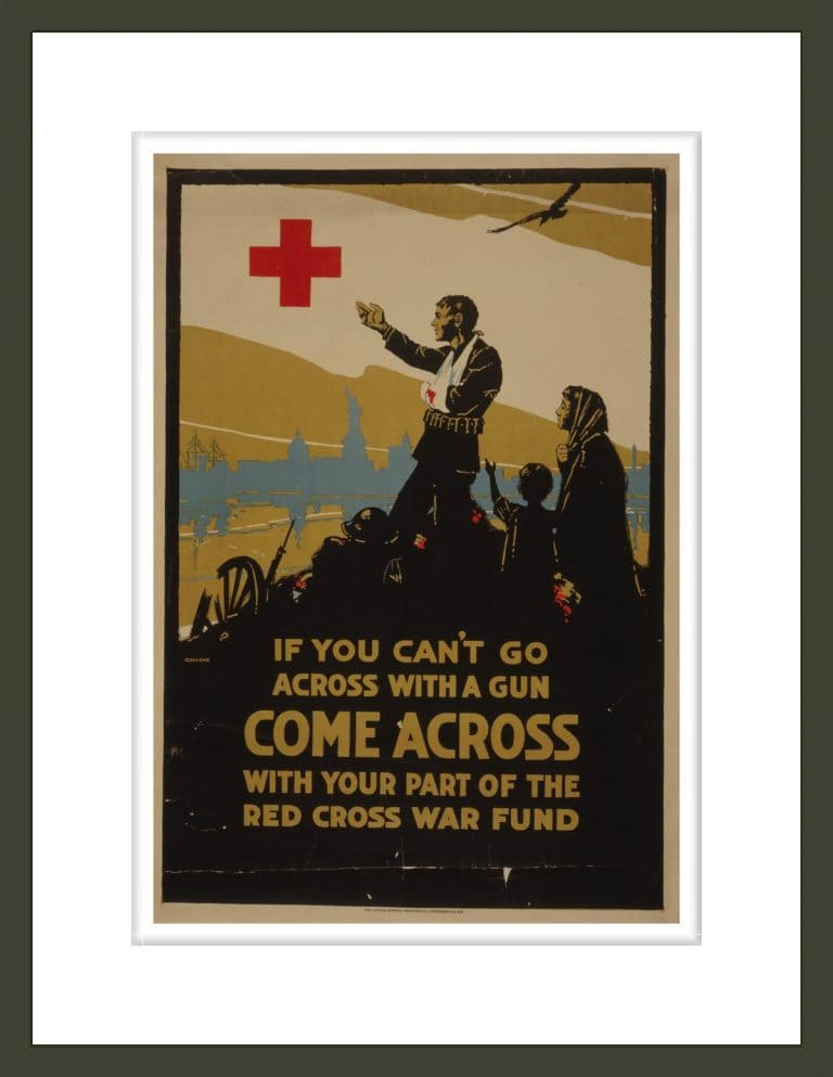 If you can't go across with a gun, come across with your part of the Red Cross war fund / C. W. Love ; The United States Printing & Lithograph Co., N.Y.