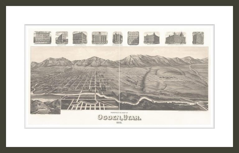 Perspective map of Ogden, Utah 1890.