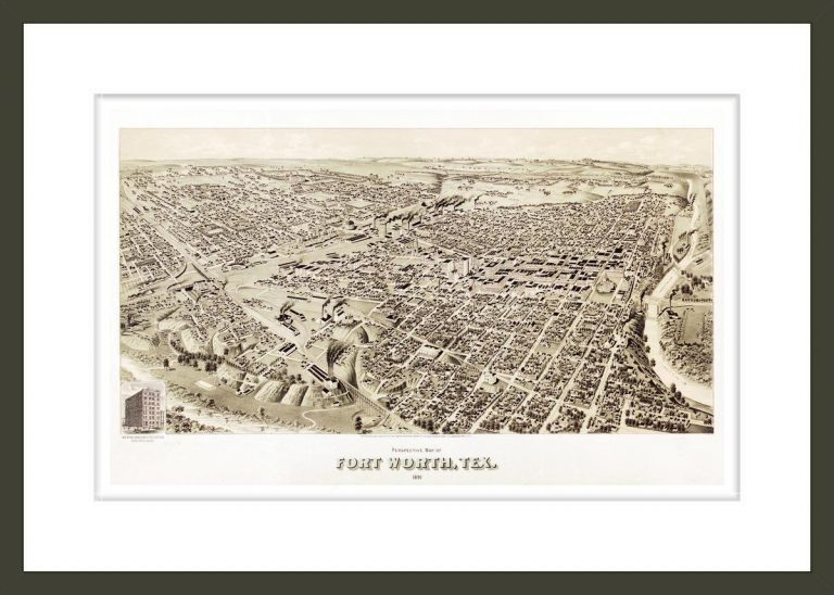 Perspective map of Fort Worth, Tex. 1891