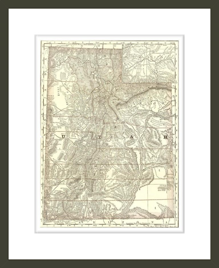 Indexed map of Utah with a new and original compilation and index.