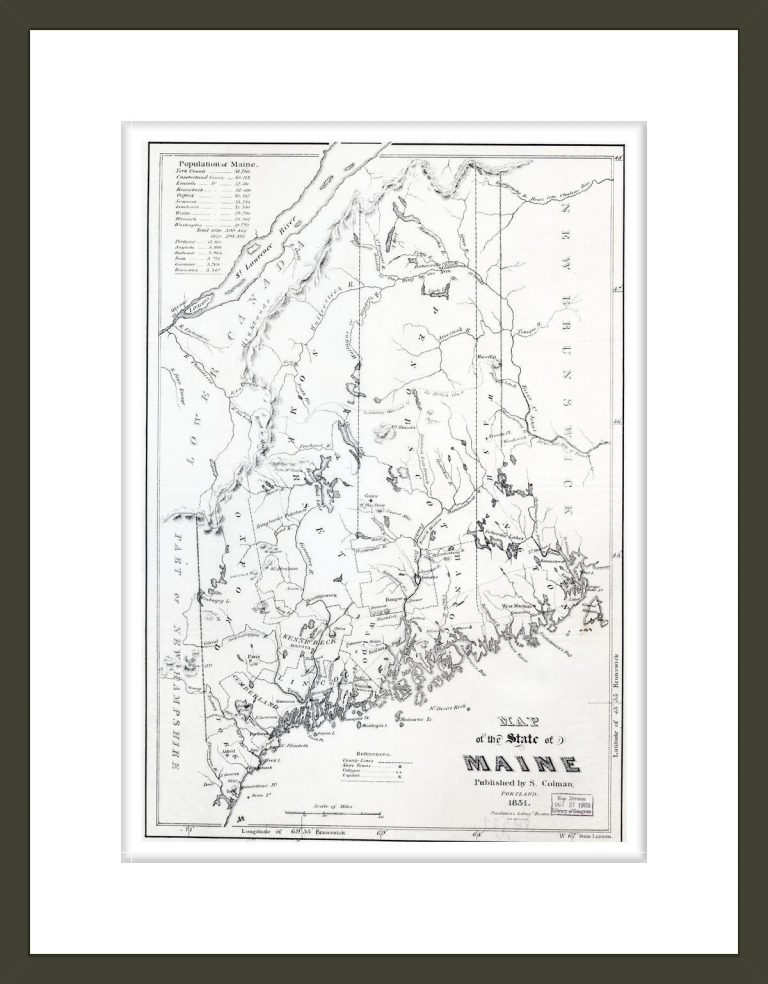 Map of the state of Maine.