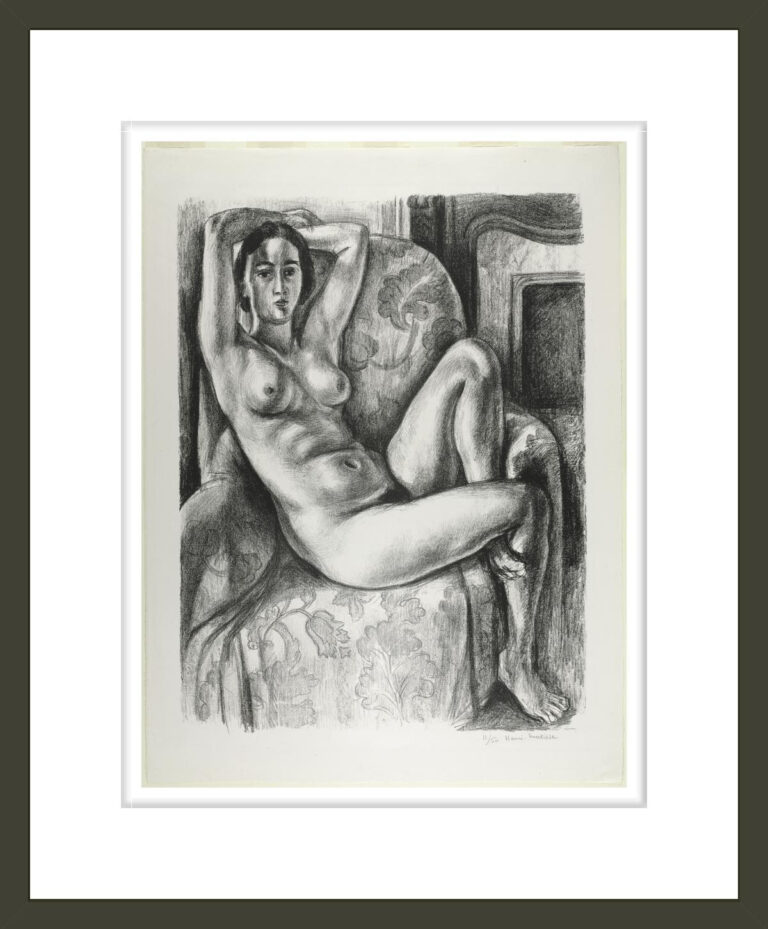 Nude with Blue Cushion next to a Fireplace