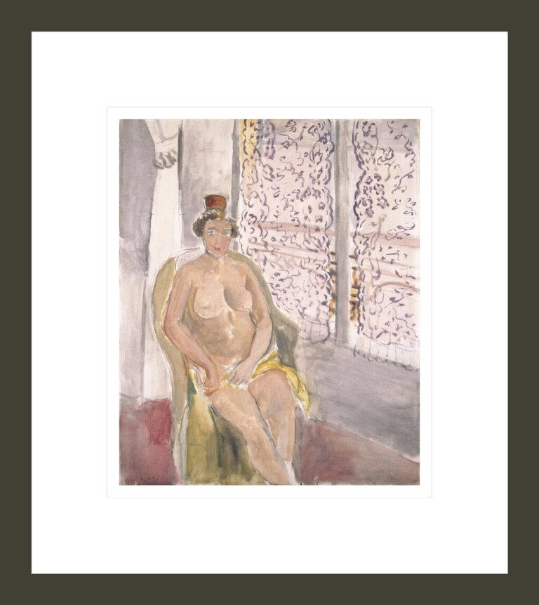 Nude with Spanish Comb, Seated in Front of a Curtained Window