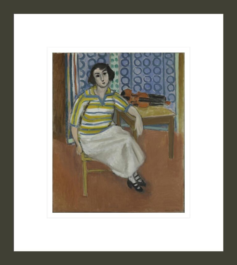 Woman in Striped Pullover, Violin on the Table