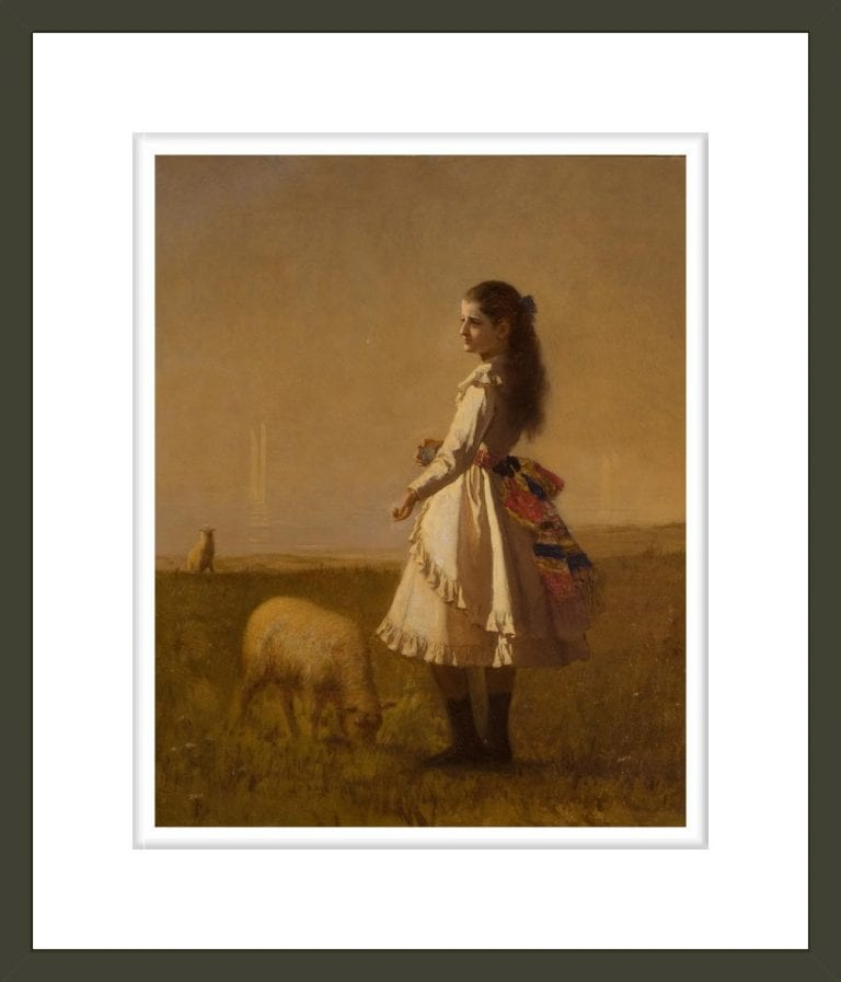 Girl in Landscape with Two Lambs