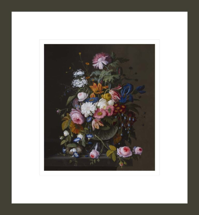 Still Life with Mixed Flowers and Bird's Nest