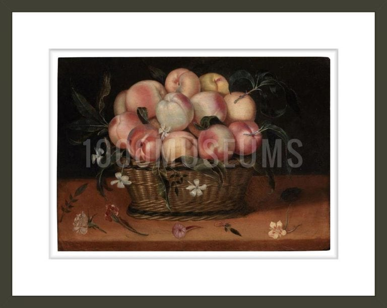 Wicker Basket with Peaches, Jasmine Flowers, Rose and Carnation